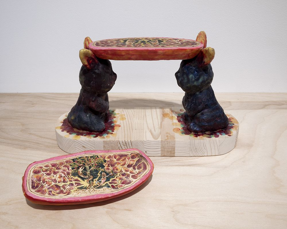 Mariano Ching, Dog and Bunnies sculpture, made in 2016