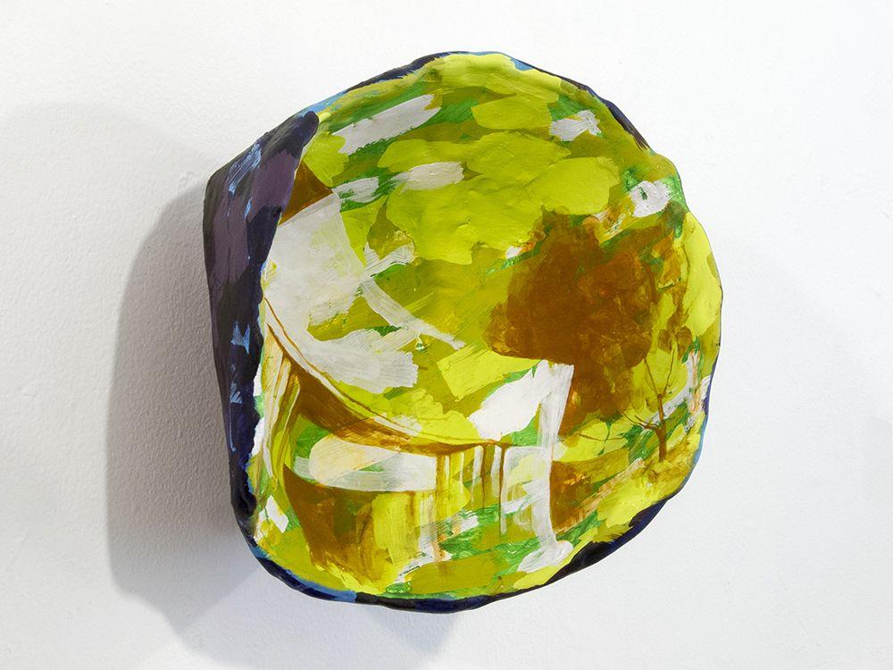 Rachael Gorchov Amalgamated Widgets Inc., Entrance, Huntington Park, 2015 Acrylic on paper mache clay, burlap and plaster 9 1/2 x 9 3/4 x 6 in. / 24.1 x 24.8 x 15.2 cm.