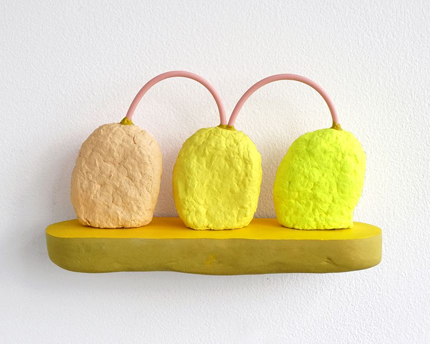 chiaozza Three Nuggets, 2017 Acrylic and rubber on paper pulp and pigmented concrete 4 x 6 ½ x 2 in. / 10.2 x 16.5 x 5.1 cm.