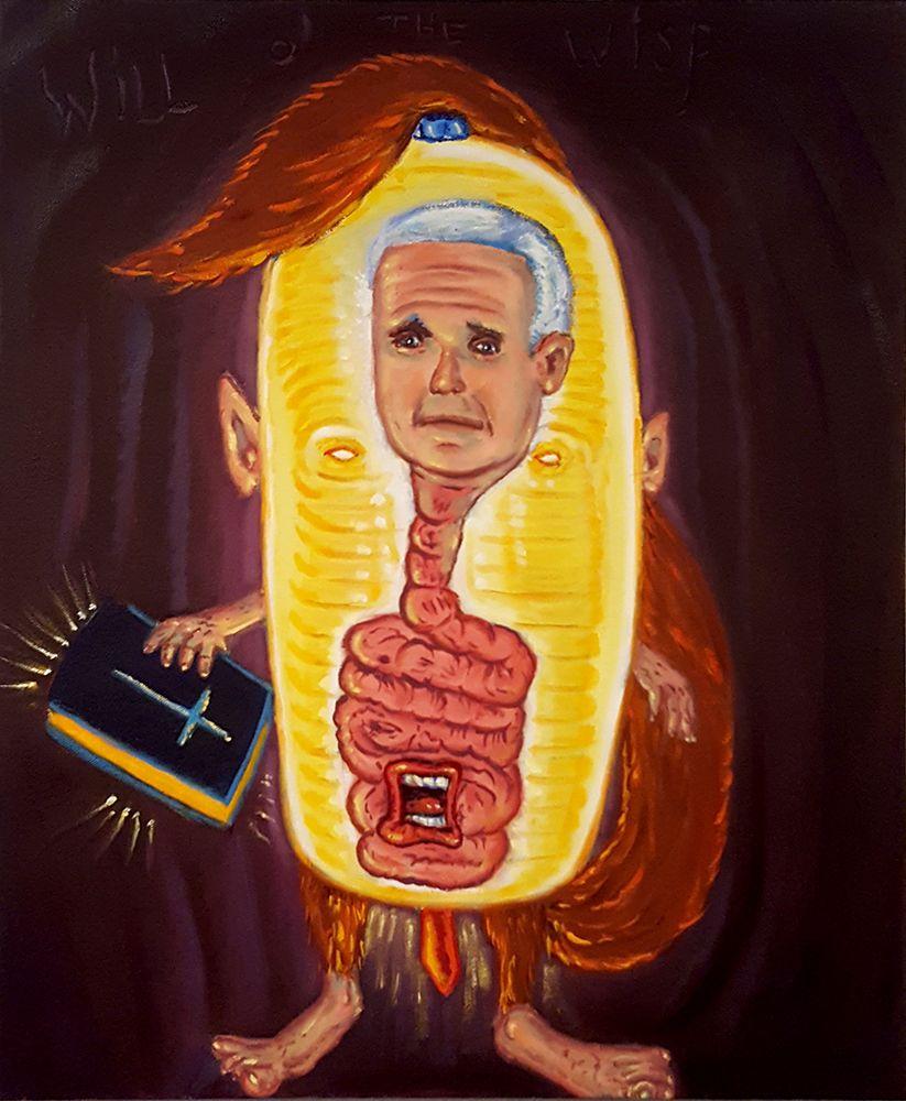 David Sandlin Will O' the Wisp, 2018 Oil on canvas, mike pence cartoon