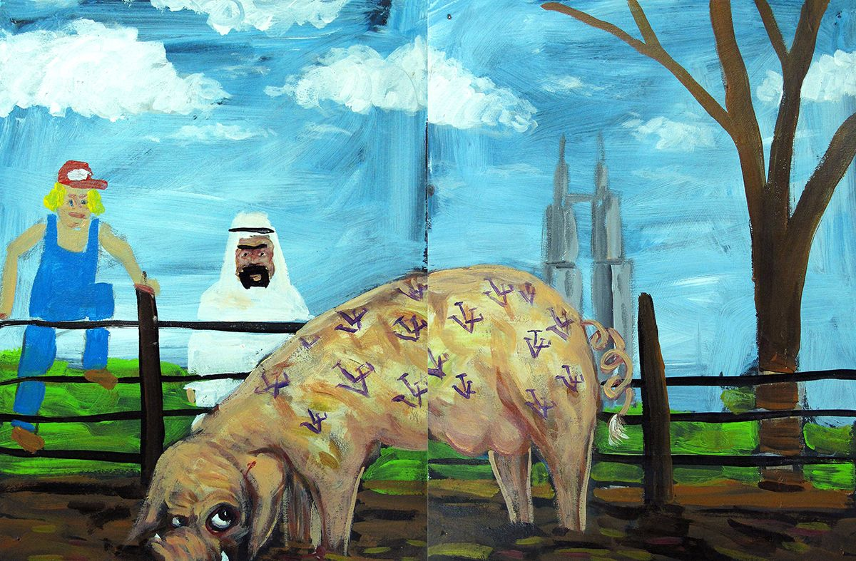 Robert Langenegger As long as our artwork remains committed to the poorest of the poor and does not end up serving the rich the work will prosper, 2012 Diptych, acrylic on paper 11 7/8 x 18 in. / 30 x 46 cm. overall