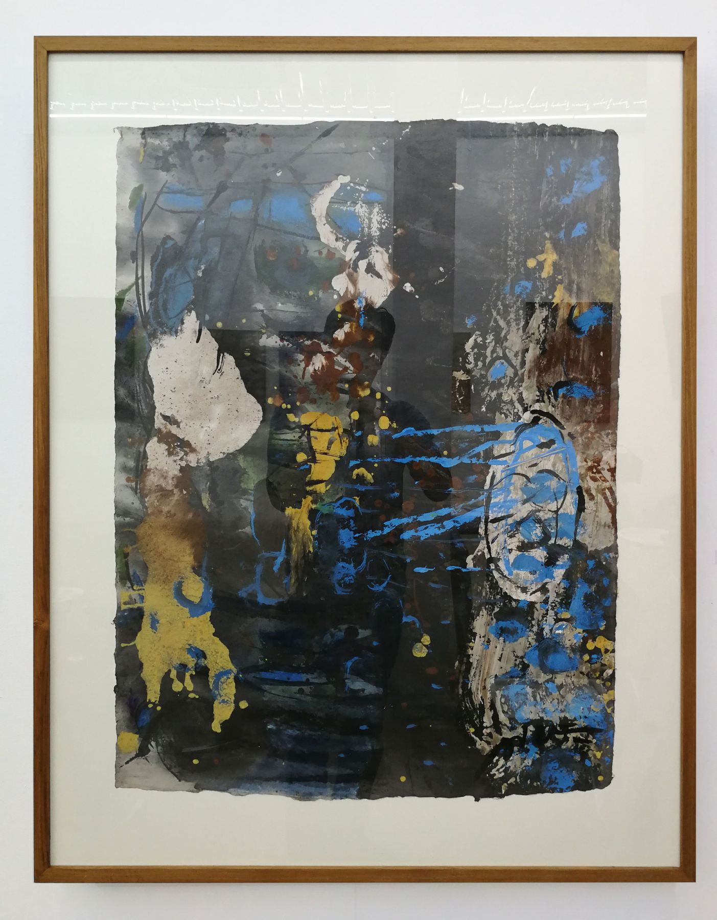 Somluk Pantiboon Untitled (Yellow, Blue), 2018 clay pigment and acrylic on mulberry paper 42.9 x 33.1 in (109 x 84 cm)