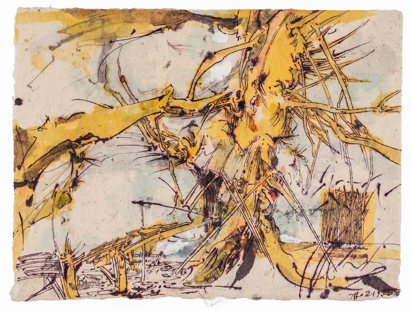 HORST JANSSEN, Yellow Tree, 2-1-1995