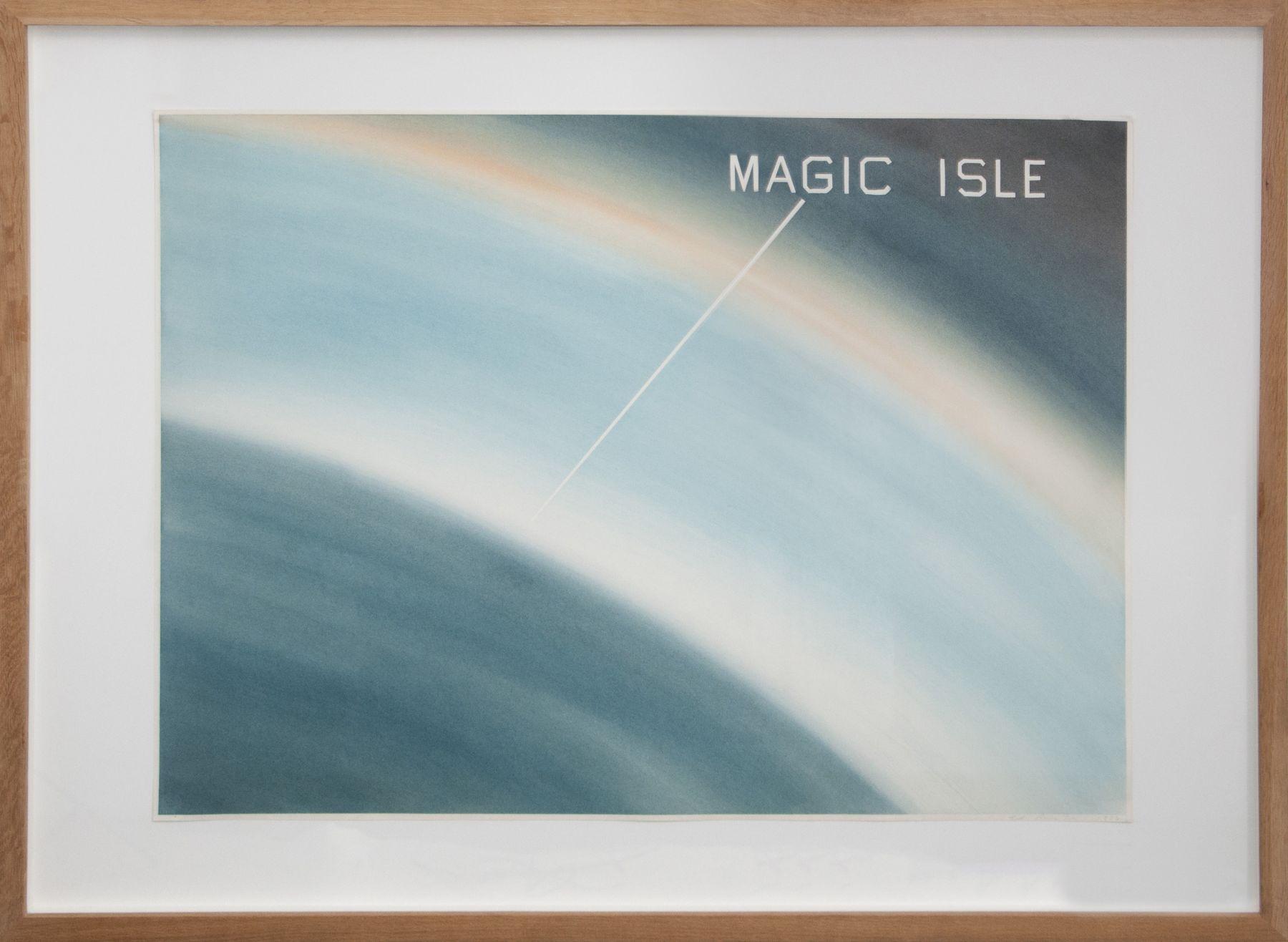 "Ed Ruscha_ Magic Isle, 1982 1973 (30"" x 40"") Frame - Casterline|Goodman Gallery.jpg"