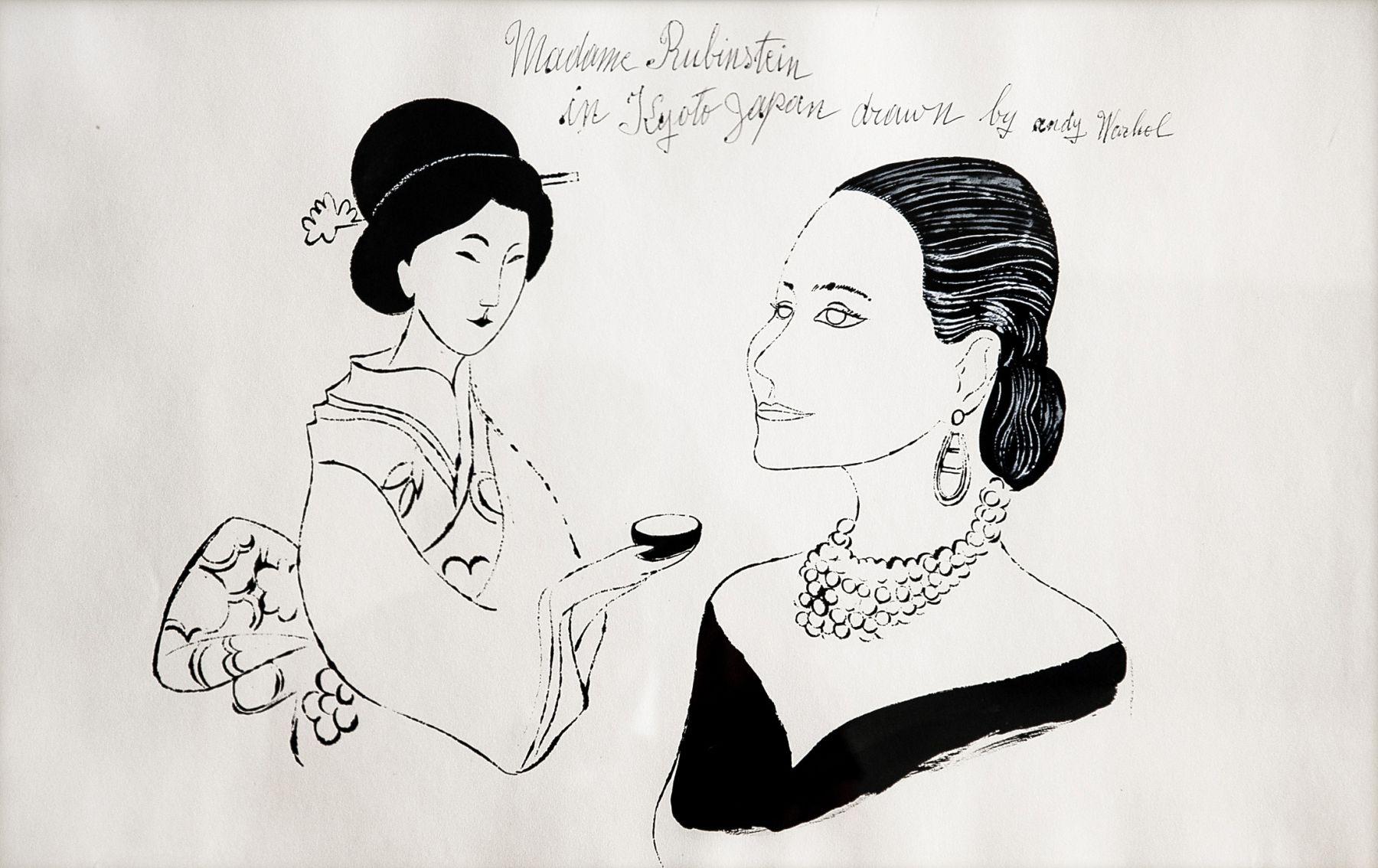 "Andy Warhol_Madame Rubinstein in Kyoto, Japan, 1956 (13"" x 21.5"") - Casterline|Goodman"