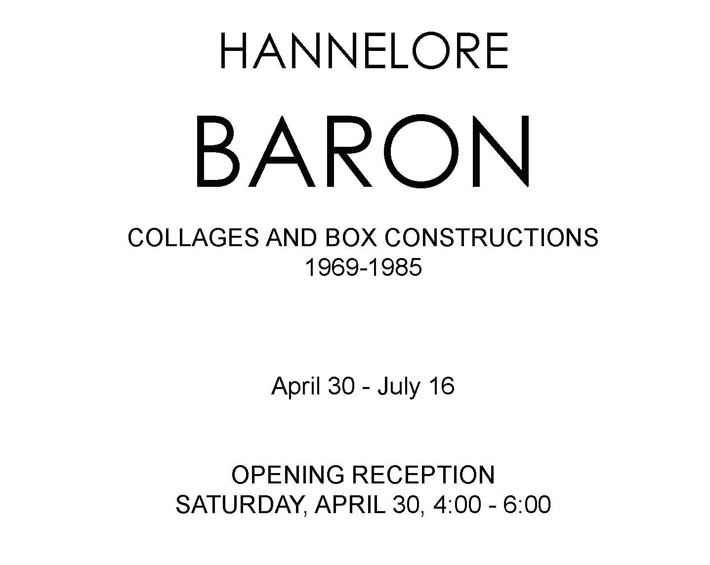 HANNELORE BARON | APRIL 30TH