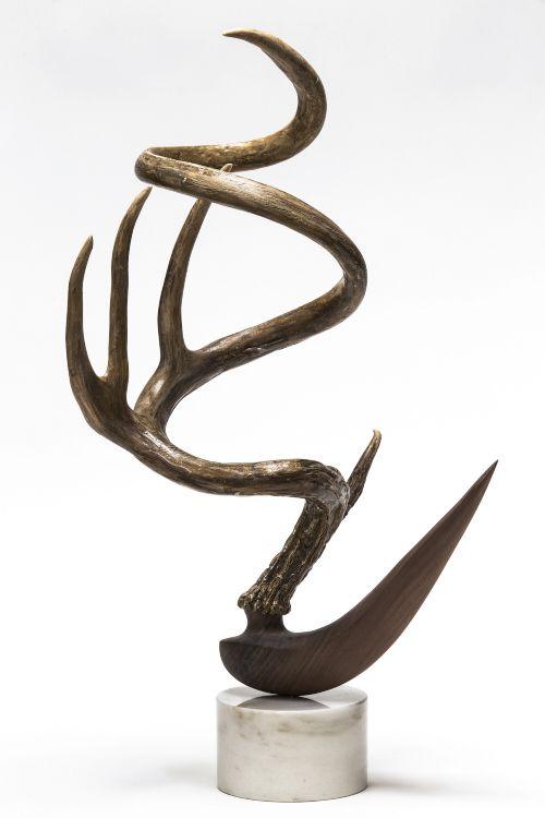 Metamorphosis VI, 2015 Mule deer antler, black walnut and mixed media on marble base 24 x 12 x 13 inches