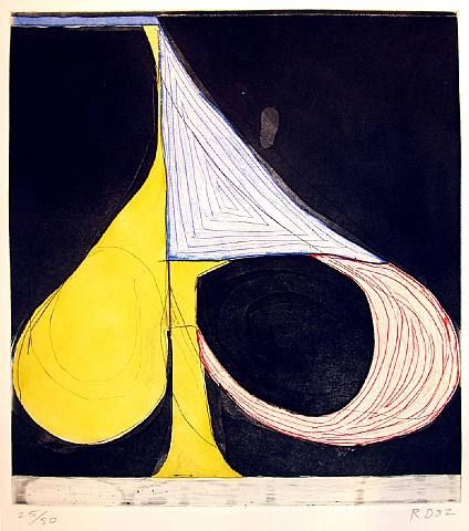 Richard Diebenkorn,Tri-Color Spade, 1982,Sugar-lift Aquatint And Etching In Colors On Rives Paper