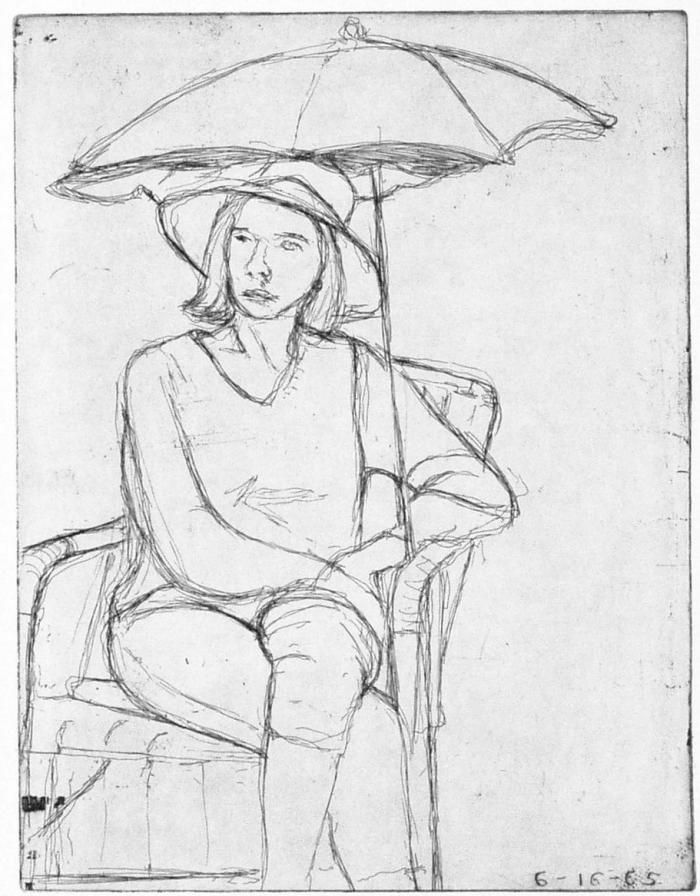 Richard Diebenkorn, #14 (Phyllis on the patio) from 41 Etchings Drypoints, 1965, Hard ground etching and drypoint