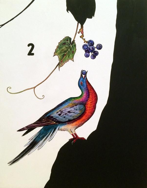 Passenger Pigeon and Wild Grapes, 2014, Oil and Acrylic on Panel, 24 x 19 inches