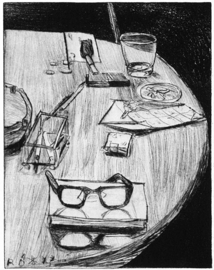 Richard Diebenkorn, #26 (table still life with ashtray and numbers) from 41 Etchings Drypoints, 1964, Aquatint with drypoint and hard ground etching