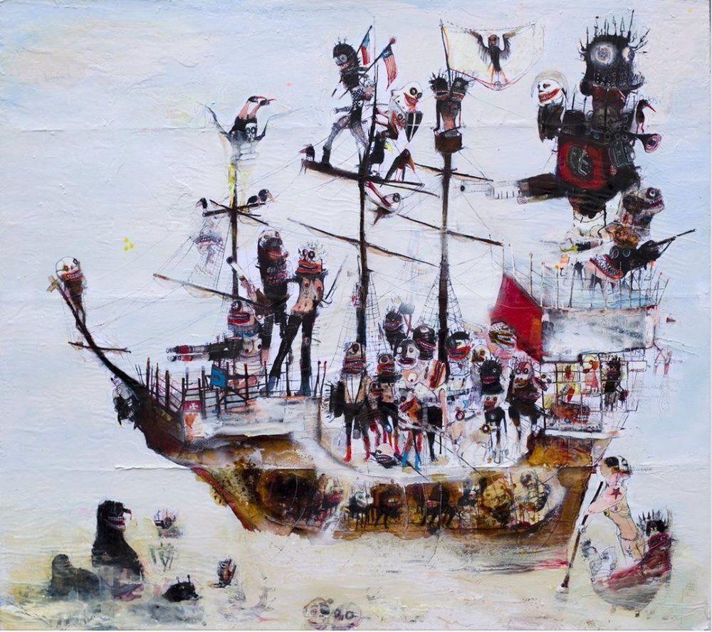 A Badly Crewed Ship painting by Kinki Texas at Hg Contemporary, founded by Philippe Hoerle-Guggenheim