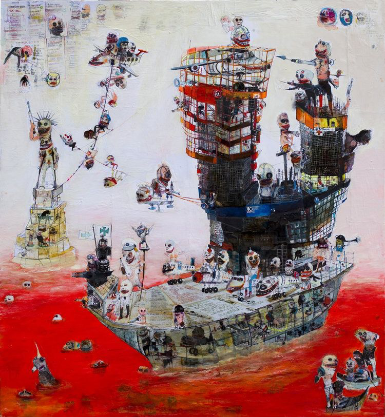 Dante's plane carrier painting by Kinki Texas at Hg Contemporary, founded by Philippe Hoerle-Guggenheim