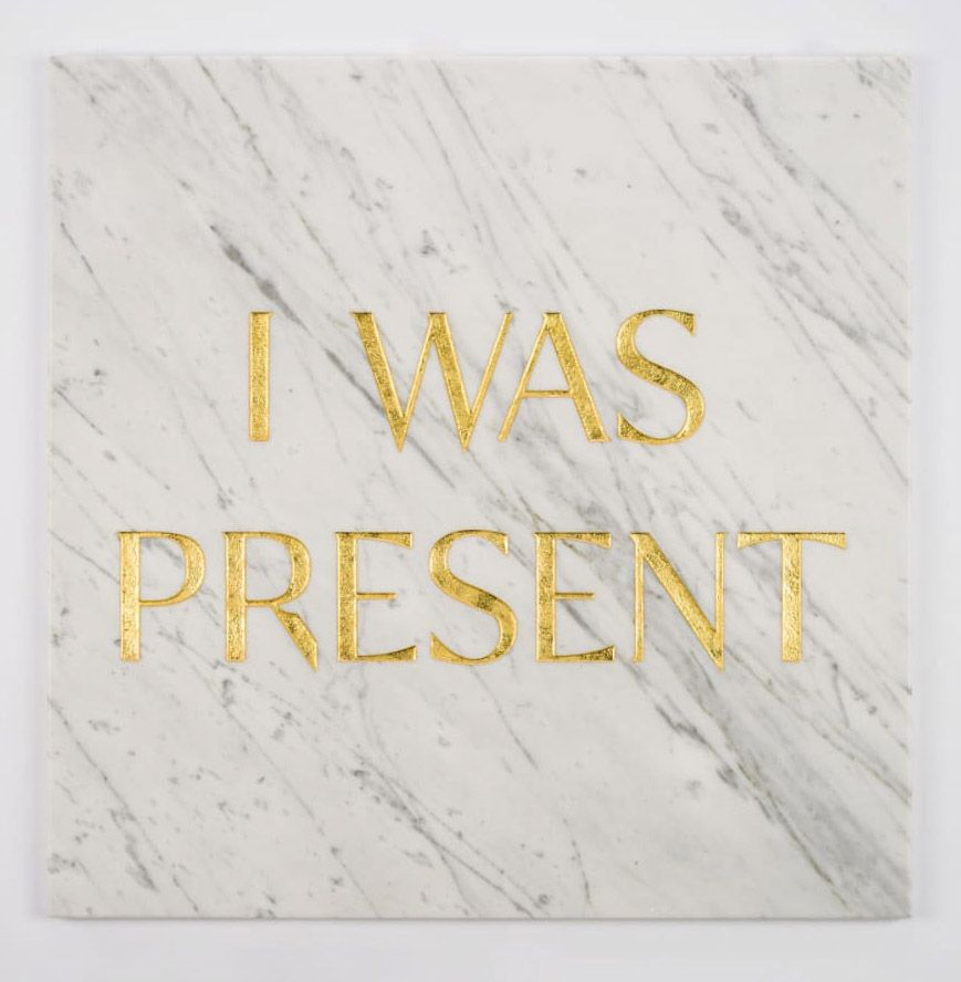 """Tombstone Engraved """"I Was Present"""" by Tim Bengel at Hg Contemporary"""