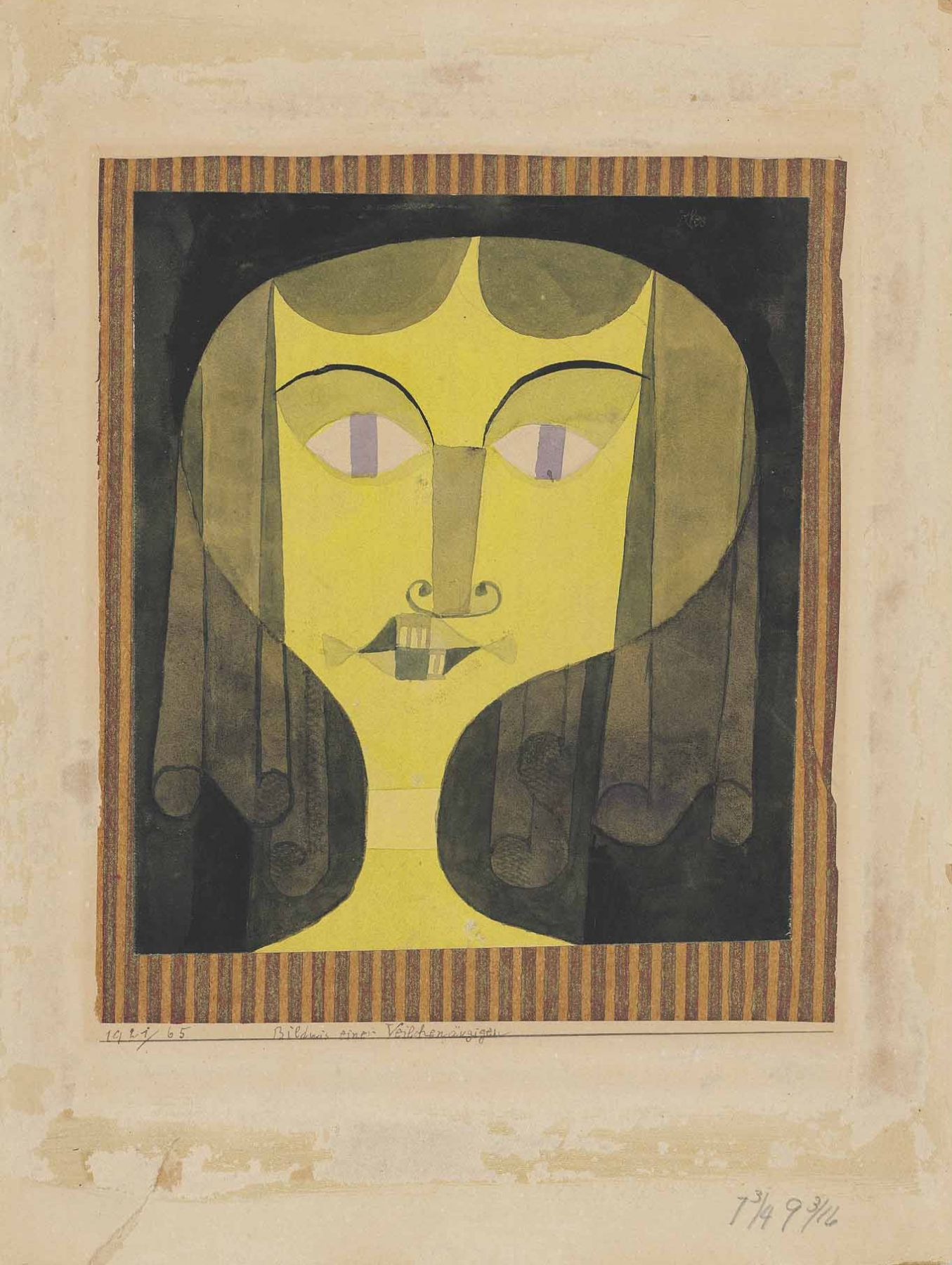 Paul Klee (1879–1940), Bildnis einer Veilchenaugigen, 1921–1921, watercolour and brush and ink over pencil on paper laid down on tissue paper, laid down on the artist's mount, 22.2 x 19.1 cm / 8.66 x 7.48 in.