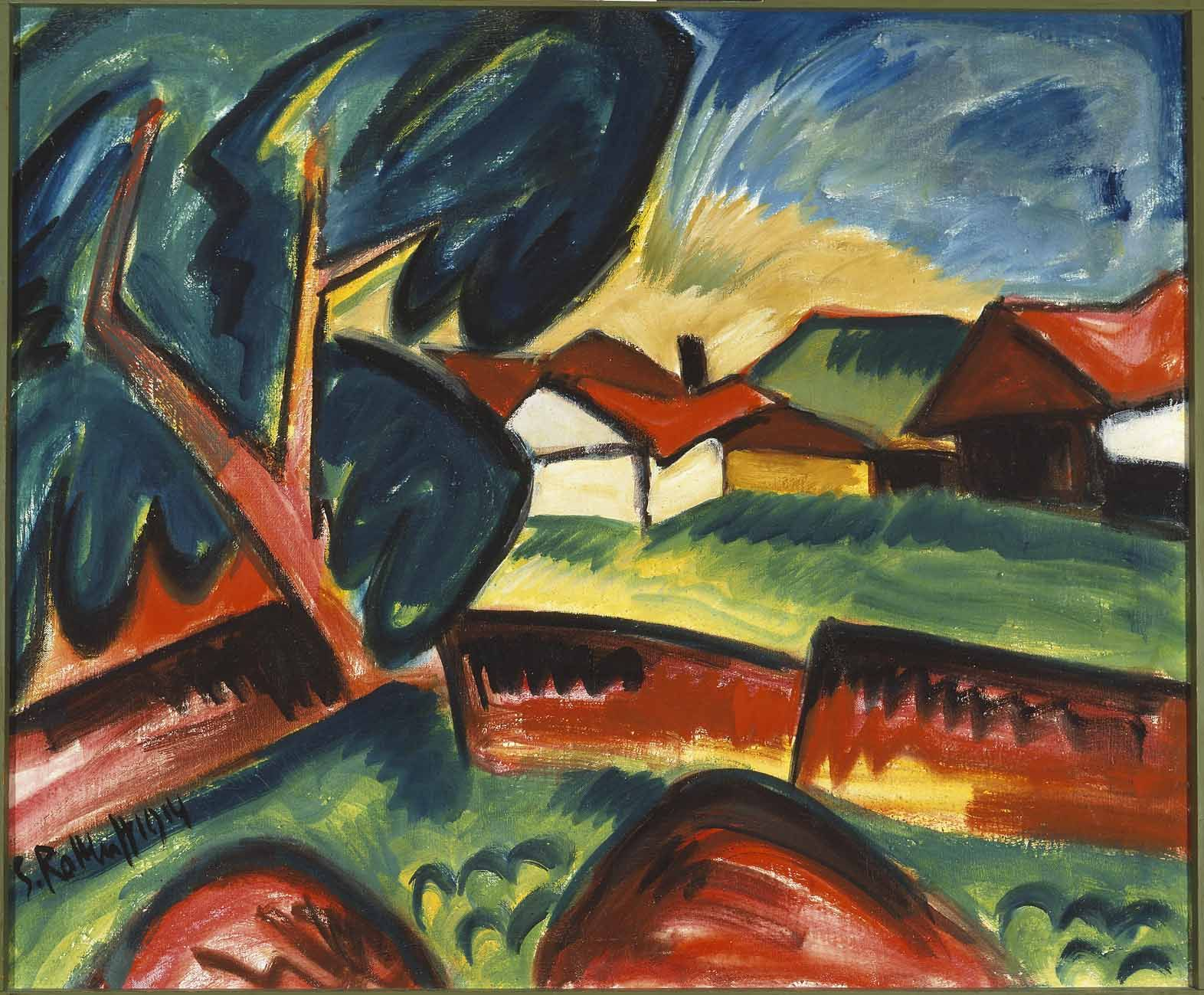 Karl Schmidt-Rottluff (1884–1976), Gehöft, 1914, oil on canvas, 77.5 x 91 cm / 30.5 x 35.8 in.