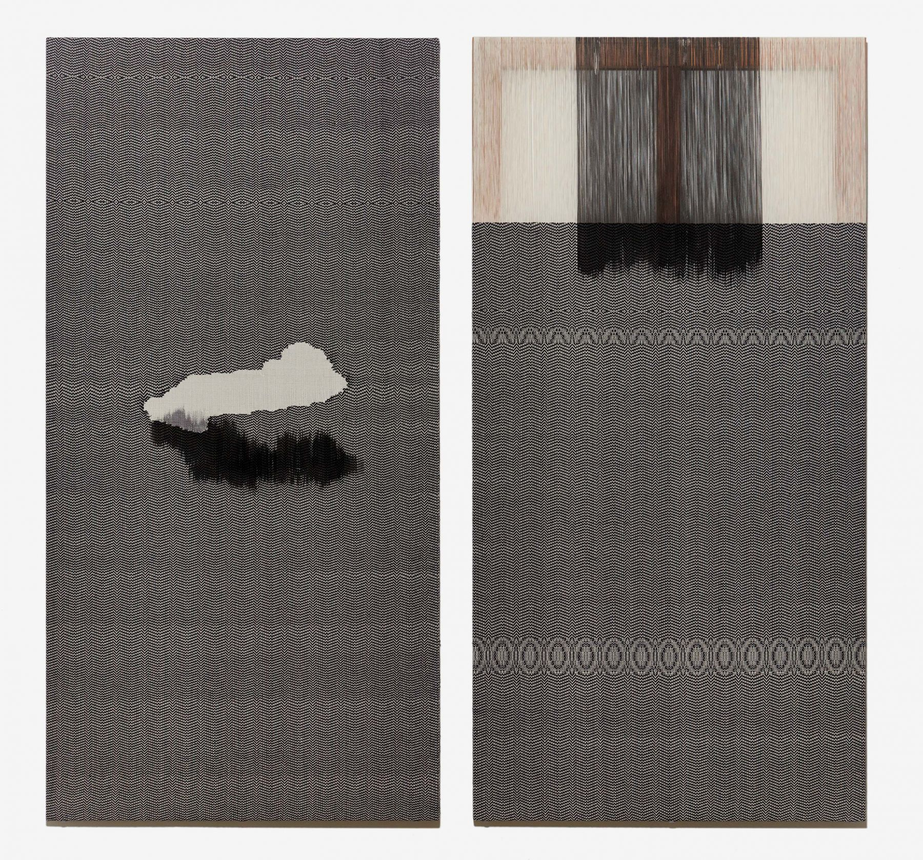 CHA Seungean, Holy day-2,3 (diptych), 2015, cotton yarn, polyester yarn, dye, 194 x 97 cm / 76.38 x 38.20 in.