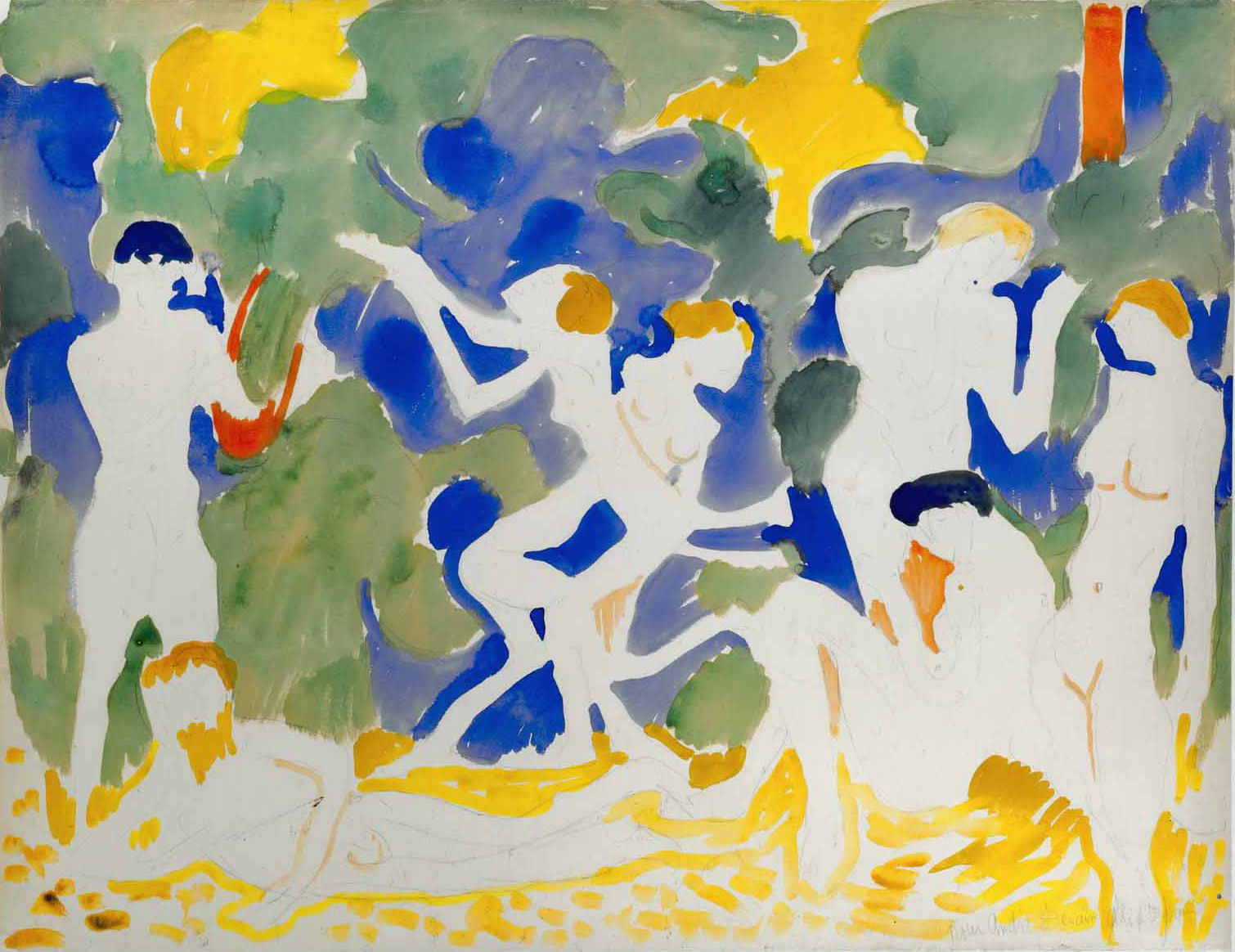 André Derain (1880–1954), La Musique, ca. 1904–1905, watercolour and pencil on paper, 50 x 64.6 cm / 19.68 x 25.20 in.