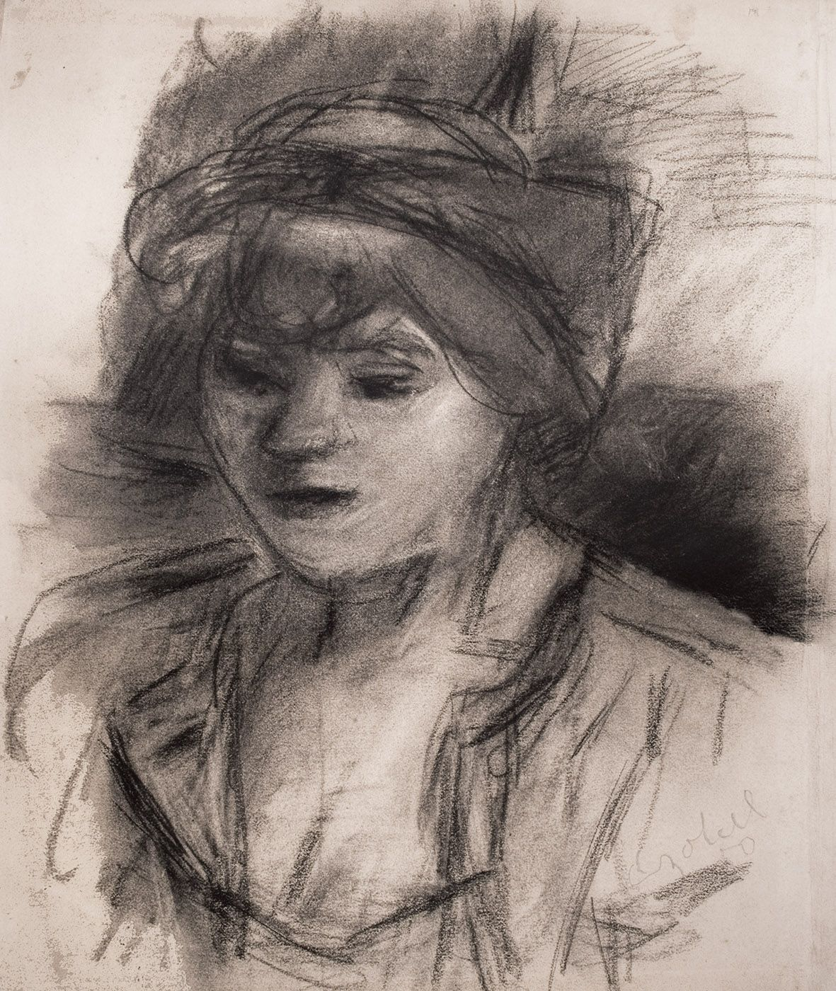 Portrait of a Girl with Scarf in Her Hair