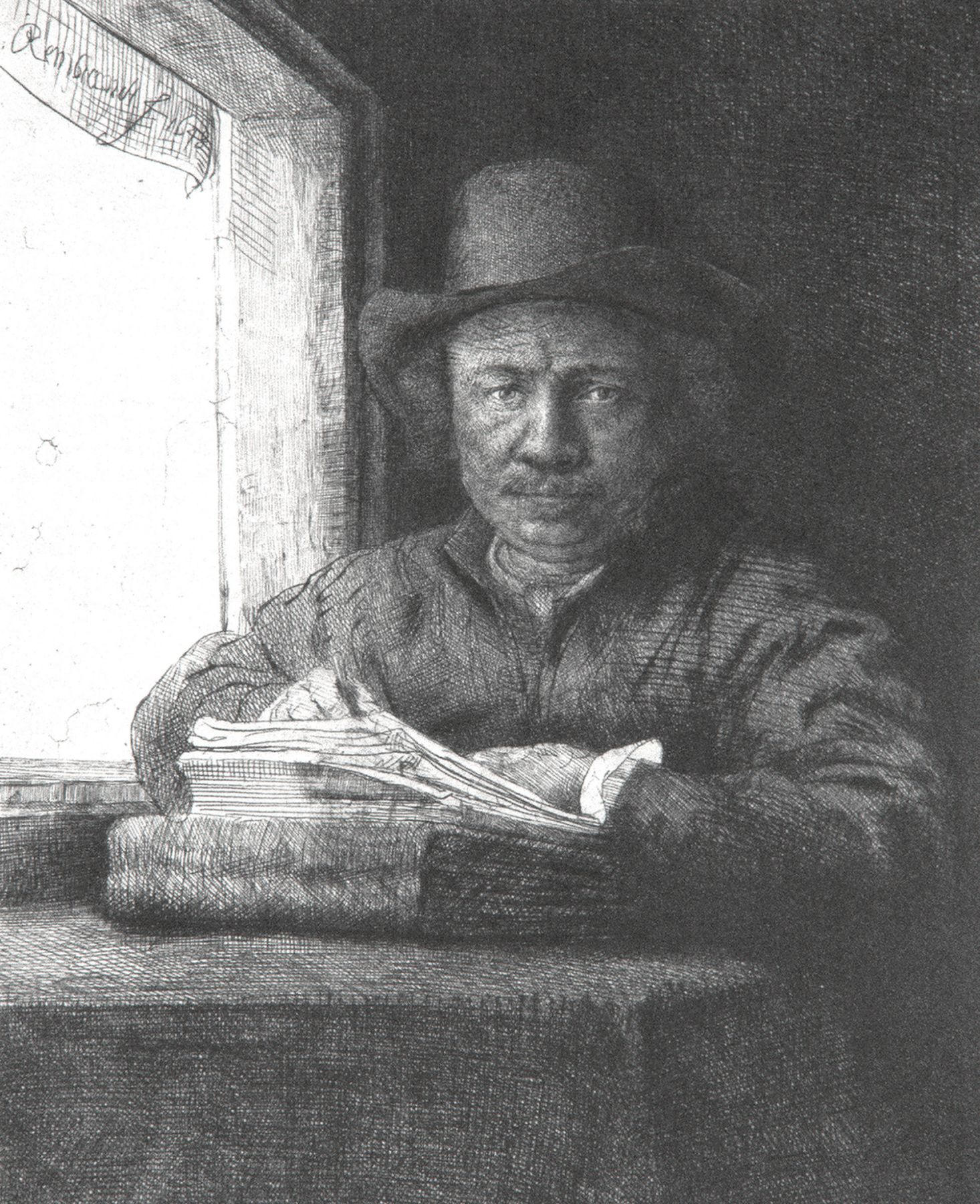 Rembrandt - Self-Portrait Drawing at a Window