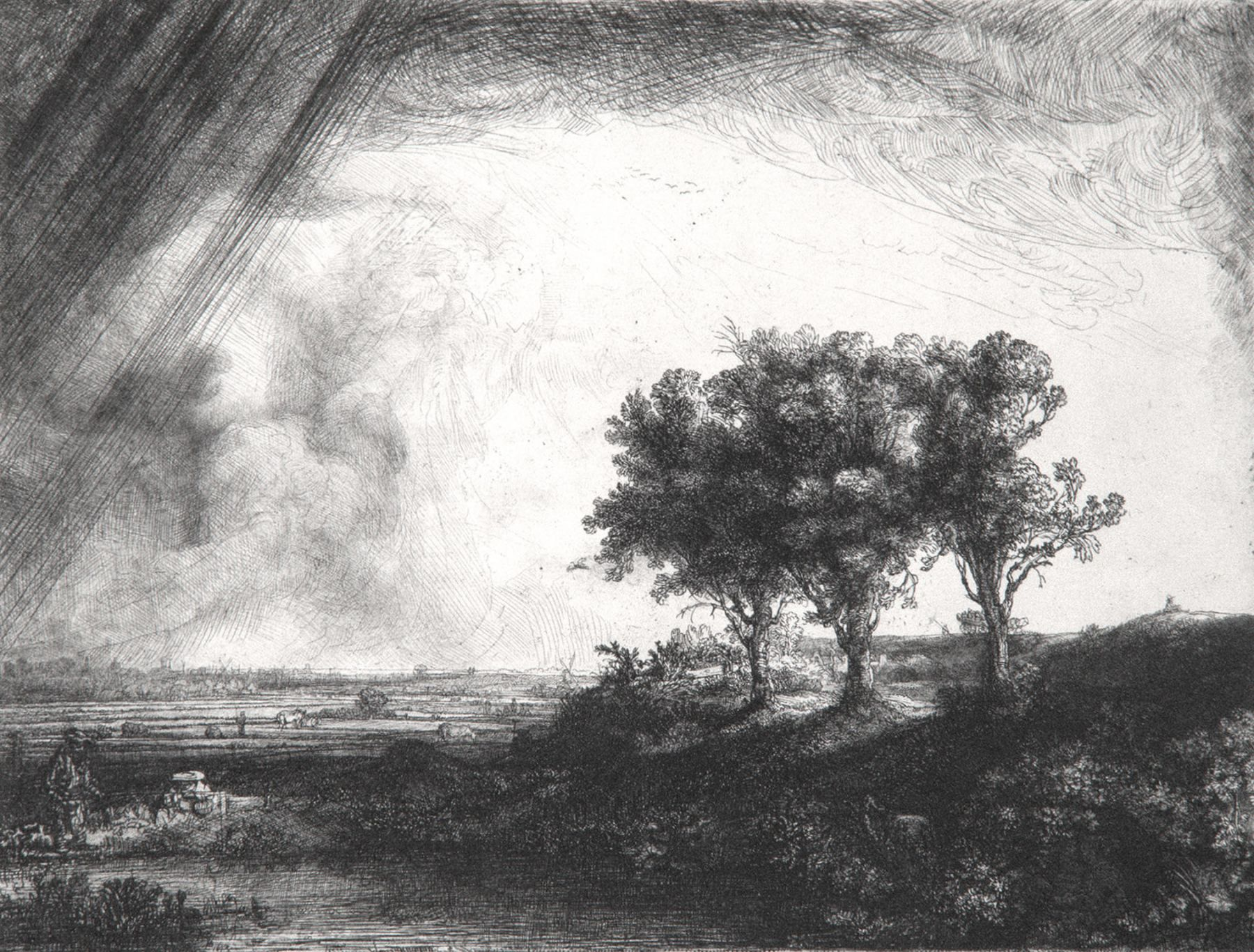 Rembrandt - Landscape with Three Trees
