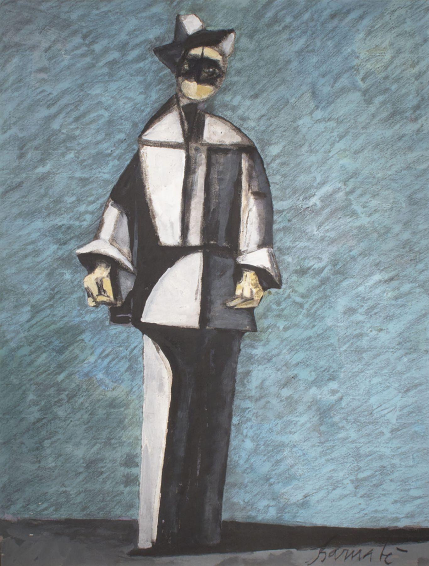 Arlecchino in blu e grigio