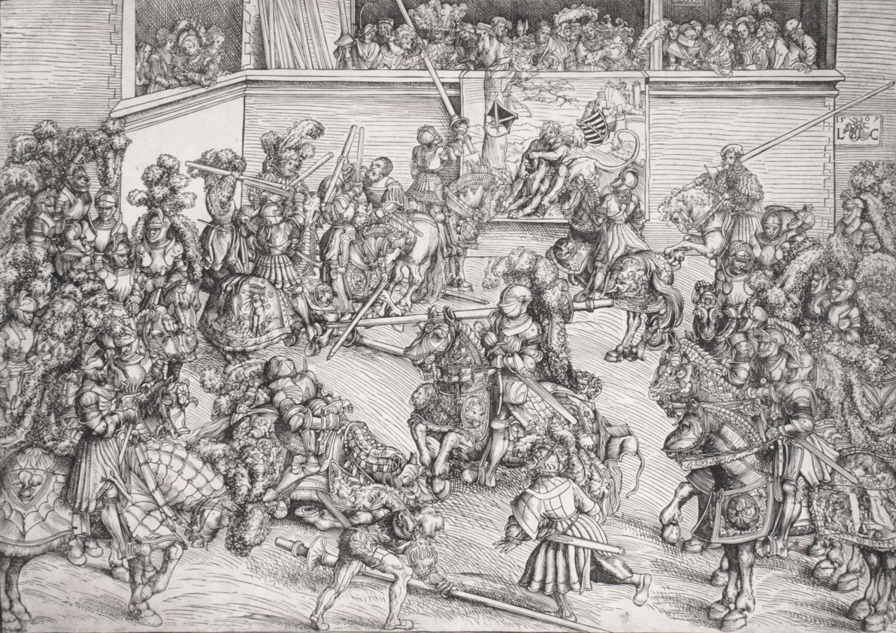 Lucas Cranach - The Second Tournament with the Tapestry of Samson and the Lion
