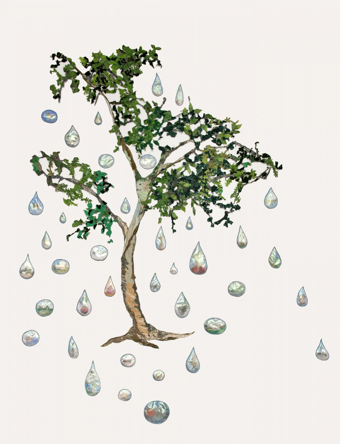 GINA PHILLIPS Memory Tree with memory drops, 2016