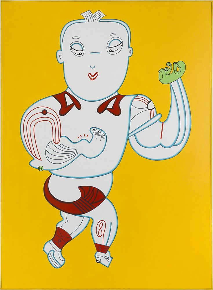 Thumb Thwack, 1986, Acrylic on canvas with painted wood frame