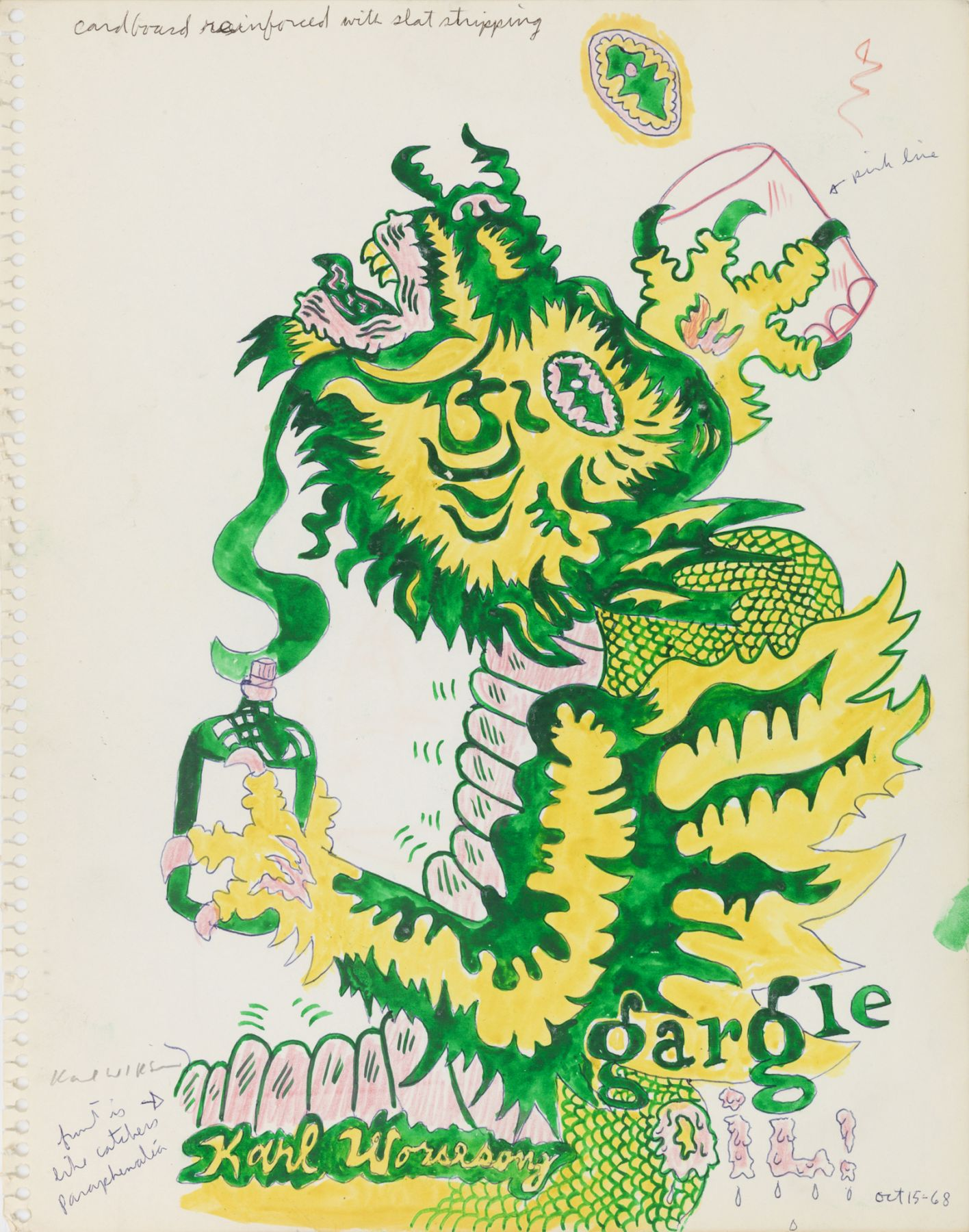 Untitled (Study for Gargoyle Gargle Oil), 1968, Ink and color pencil on paper