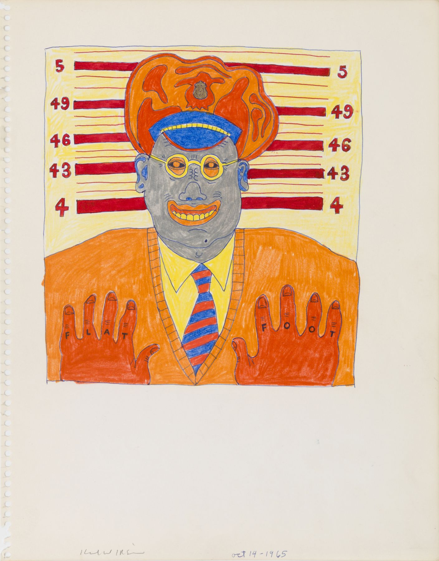 Untitled (Study for Flat Foot), 1968, Ink and color pencil on paper