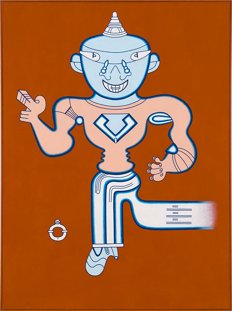 Mr. Whatzit on the Road to Burmashave,1985, Acrylic on canvas with painted wood frame