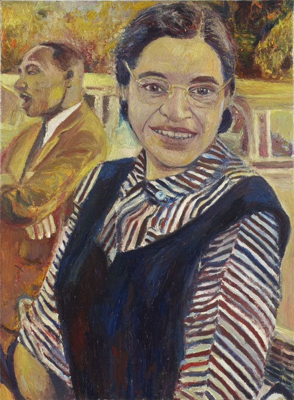 Rosa Parks and Martin Luther King, Jr., 2006, oil on linen