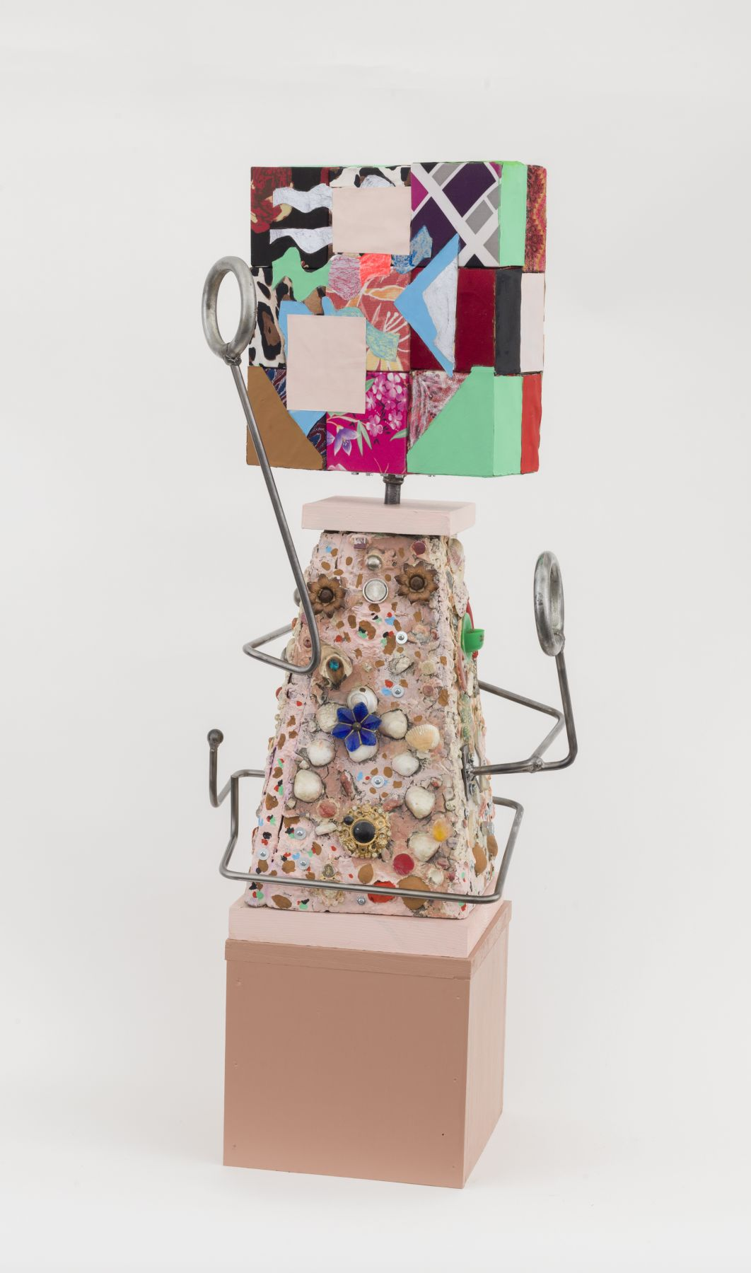 Looking for a cup of coffee, 2015-18, found base, metal rod, wooden blocks, fabric, paper, Flashe acrylic