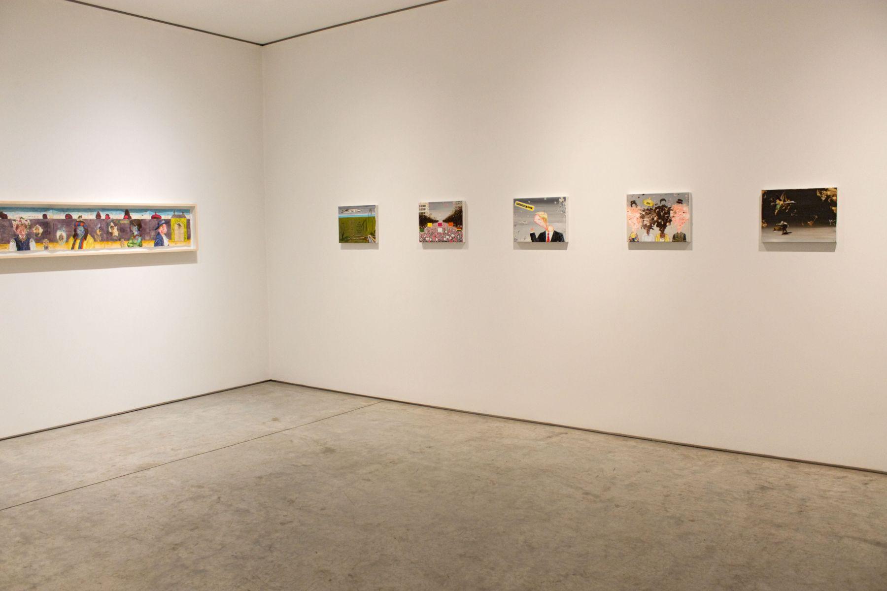 Installation view, Enrique Chagoya, Aliens Sans Frontières, George Adams Gallery, New York, 2018.