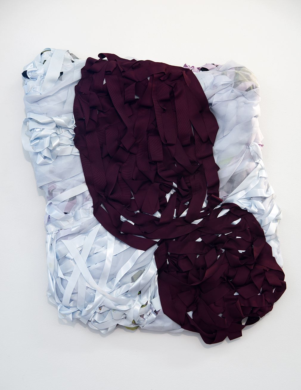 """Vadis Turner,Two Heads, recycled textiles, mixed media, 33"""" x 27"""", 2016"""