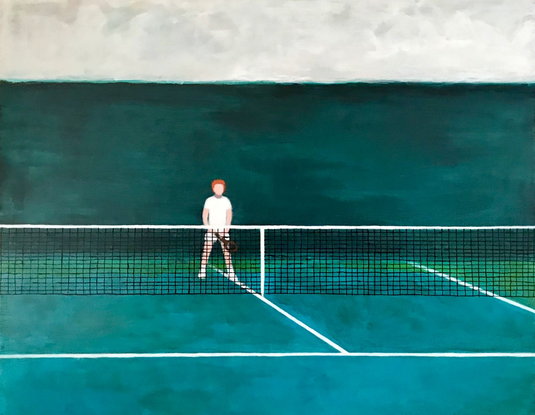 A painting by Ayse Wilson depicting a man playing tennis from the opposite side of the court with a net in front of him