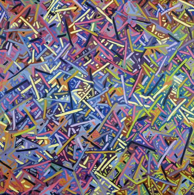 """Alex Herzog,titti-titti-tat-ti, oil on LDF panel, 45"""" x 45"""", 2016"""