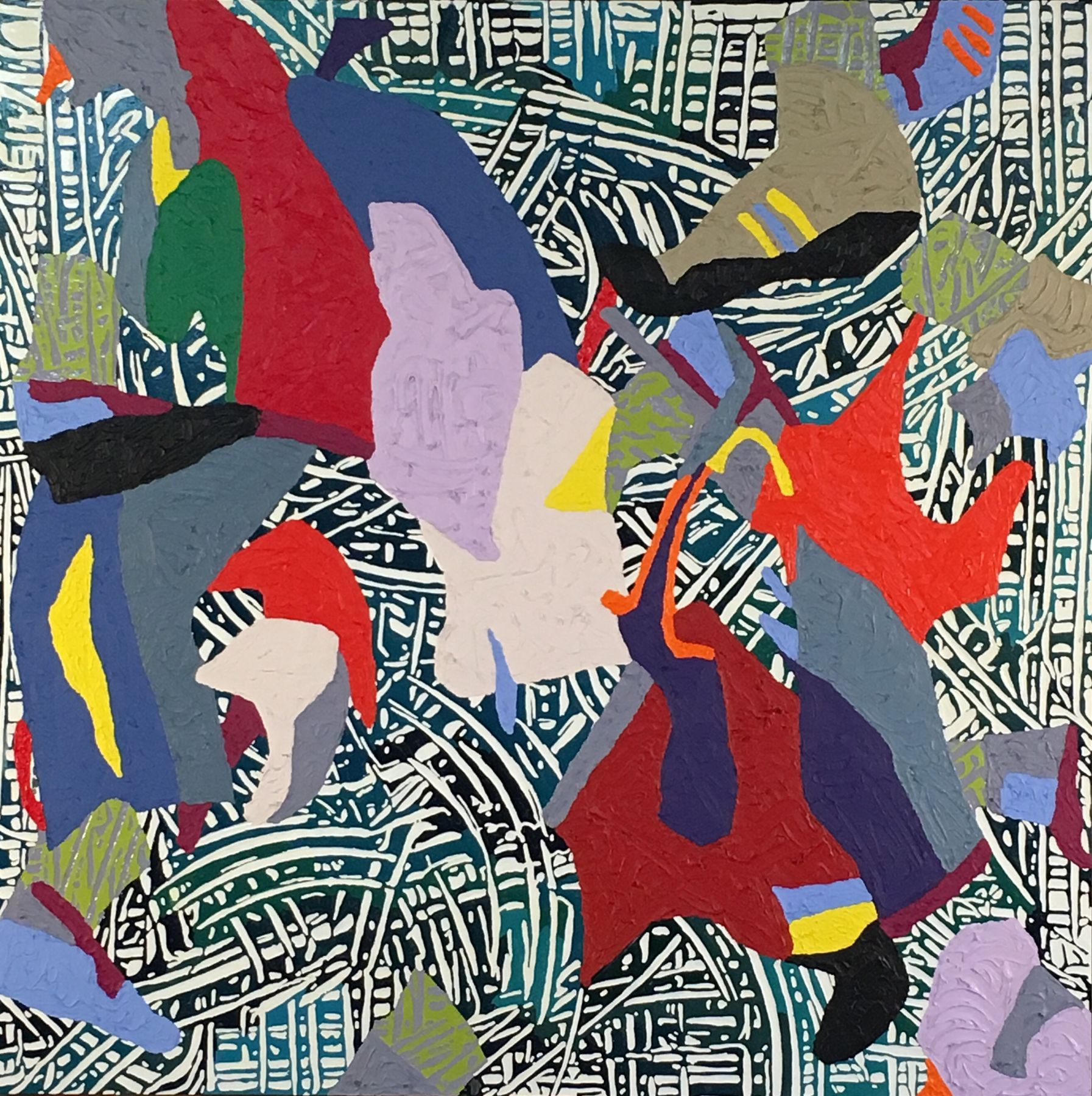 "Alex Herzog, Single-hip toss,oil on LDF panel, 45"" x 45"", 2016"