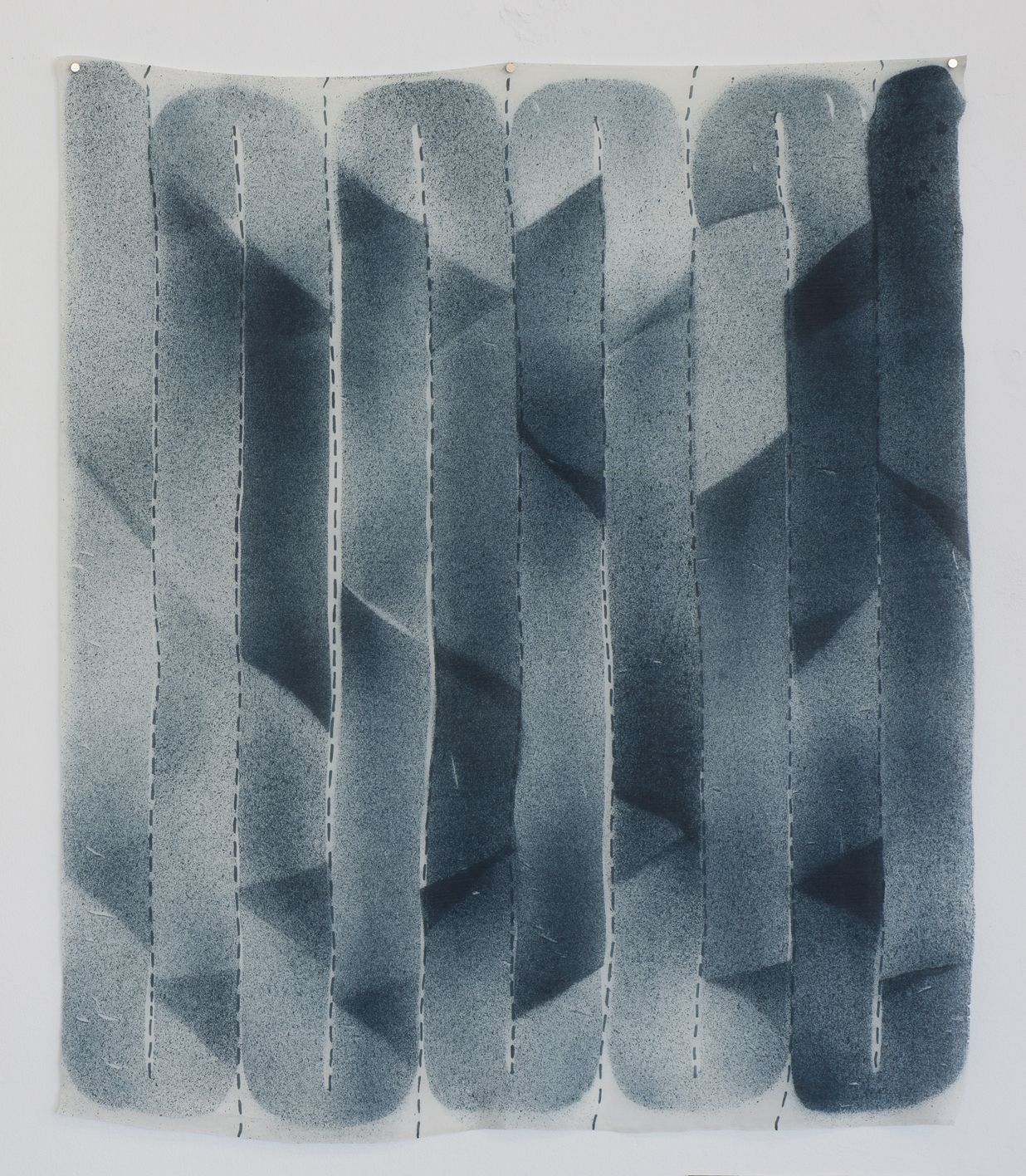"""Andy Hall,10 Yards Grey, dye and ink on silk, 36"""" x 30.5"""", 2016"""