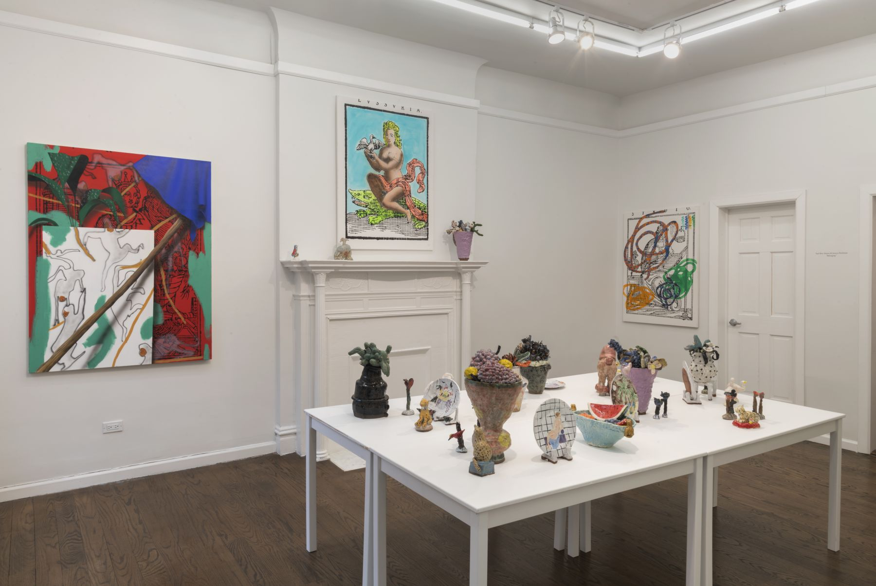 "An installation image of ""Belonging,"" a two person show with ceramics by Jessica Perelman and paintings by Yael Ben-Simon at Johannes Vogt."