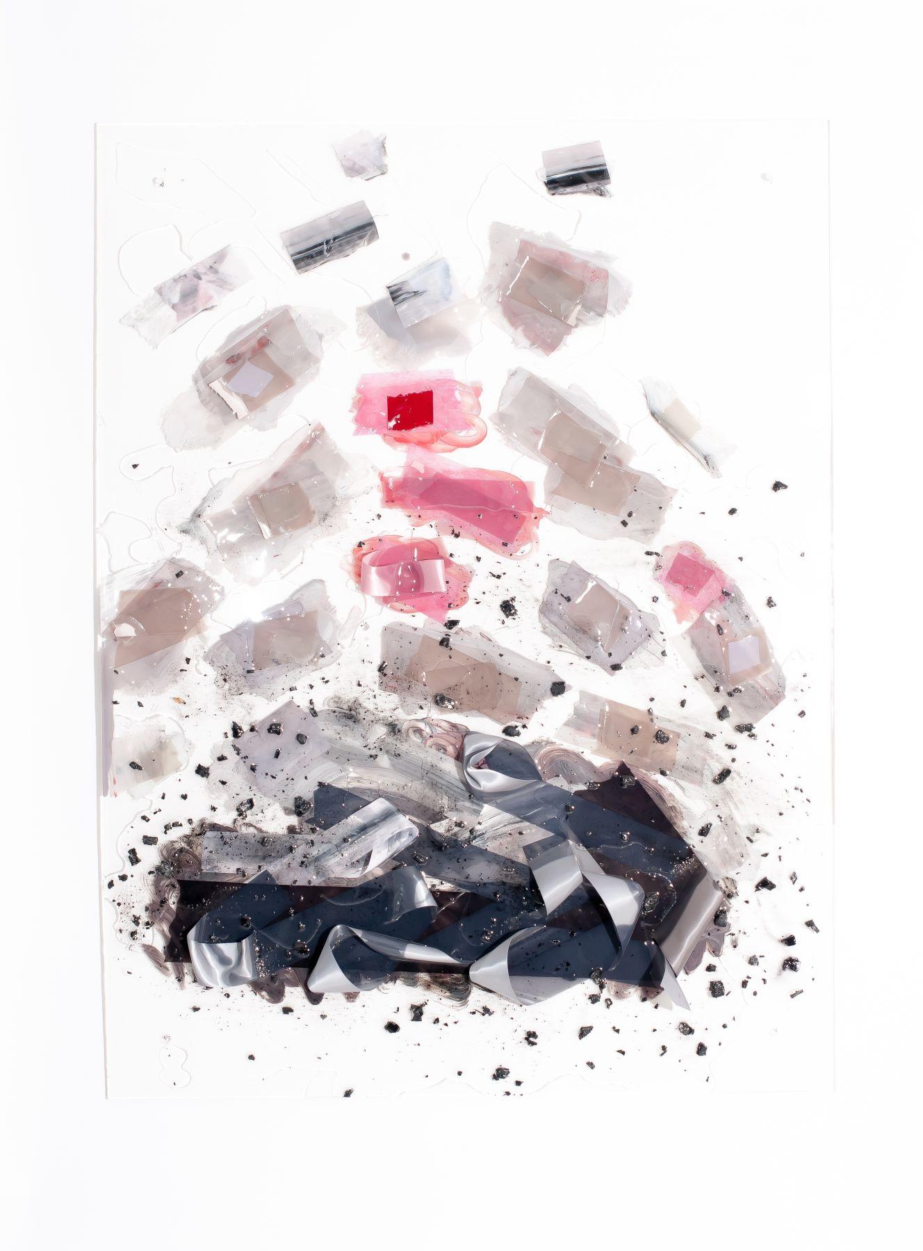 """Vadis Turner,Fruit Bearing Ashes, ribbon, ash, acrylic resin, and mixed media, 36"""" x 48"""", 2016"""