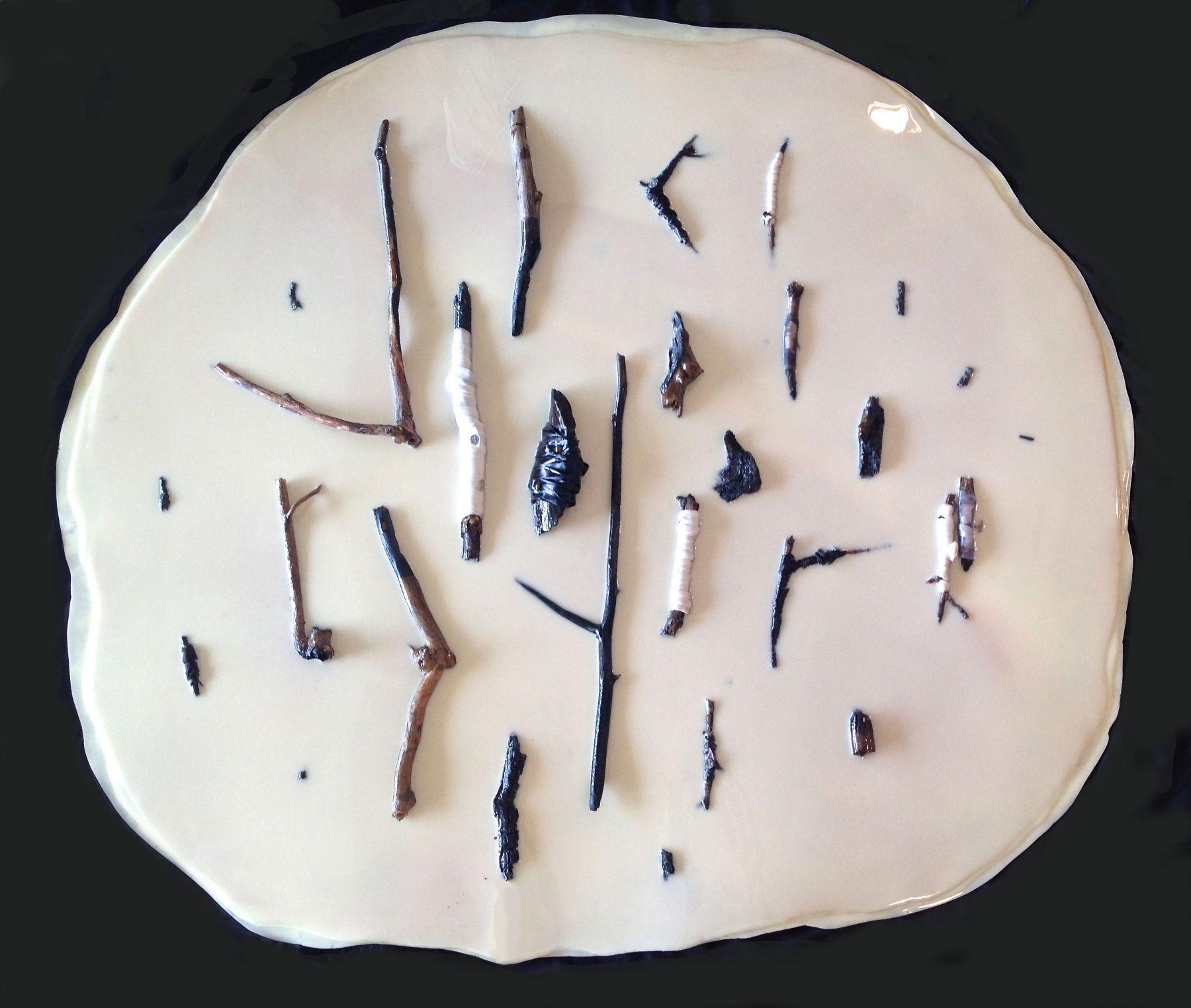 """Vadis Turner,Artifacts,breast milk, resin, charred sticks, ribbon, tacks, 54"""" x 54"""", 2016"""