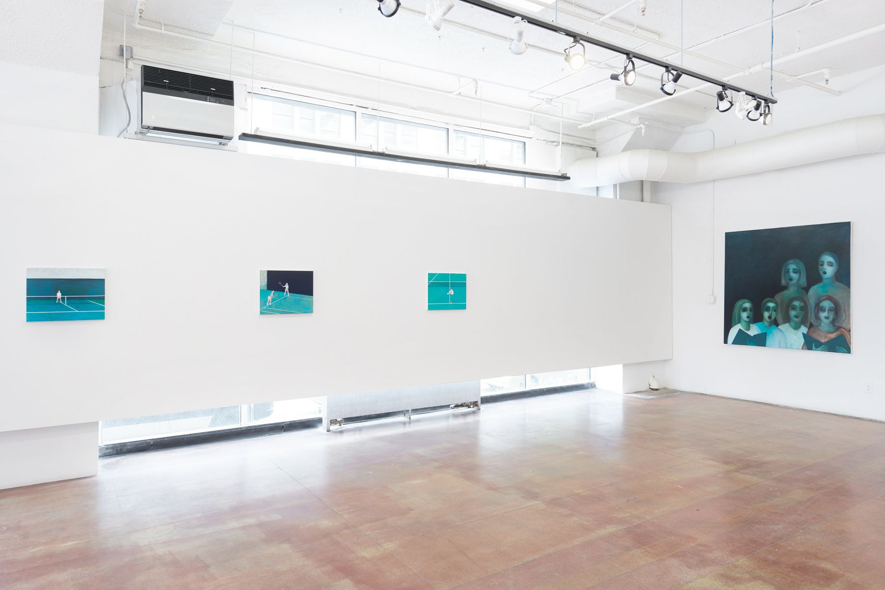 an installation view of Ayse Wilson's solo exhibition featuring large paintings.