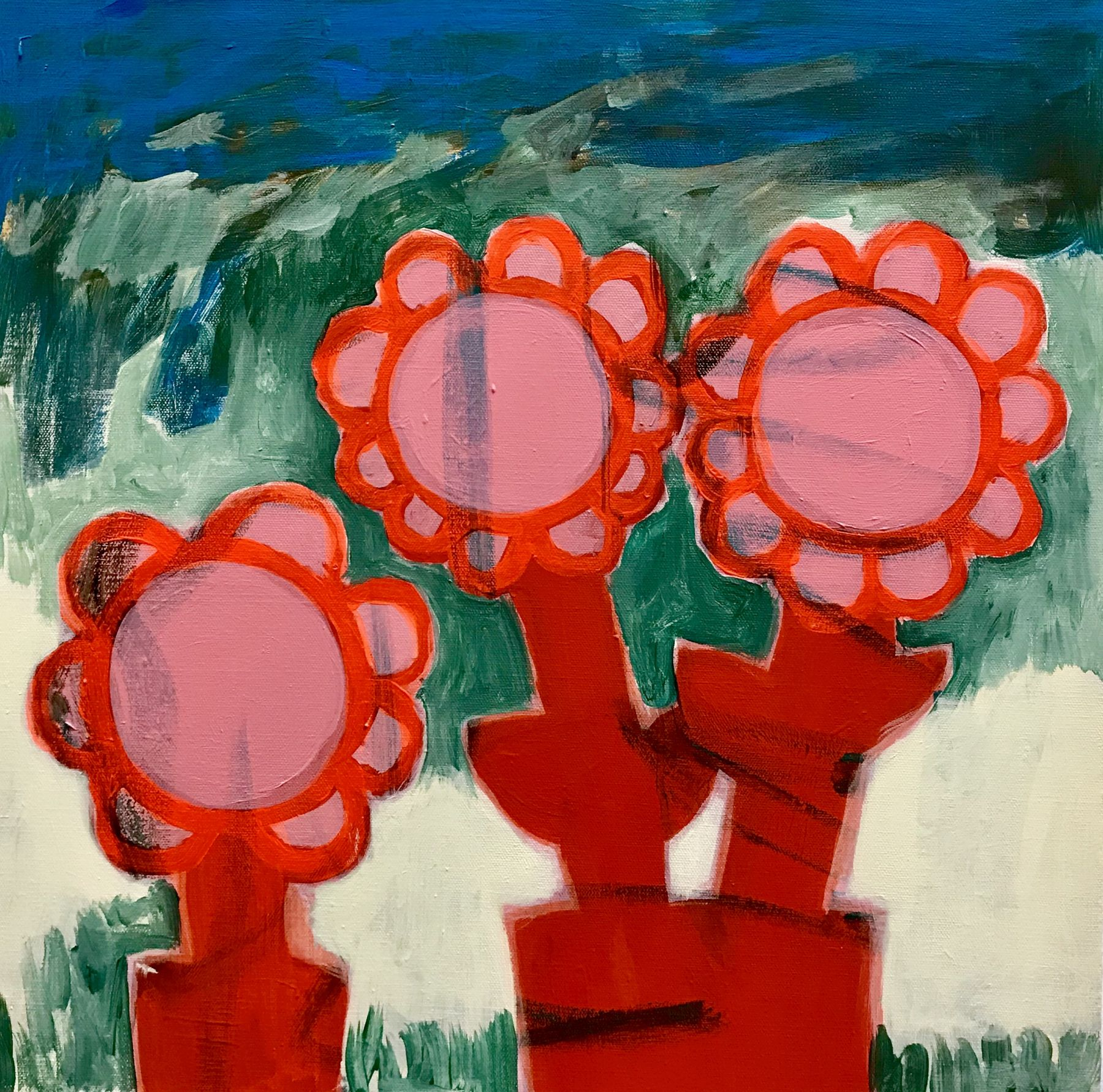 A painting by Ayse Wilson depicting three abstracted flowers. They're neon orange in front of patchy grass and a blue sky.