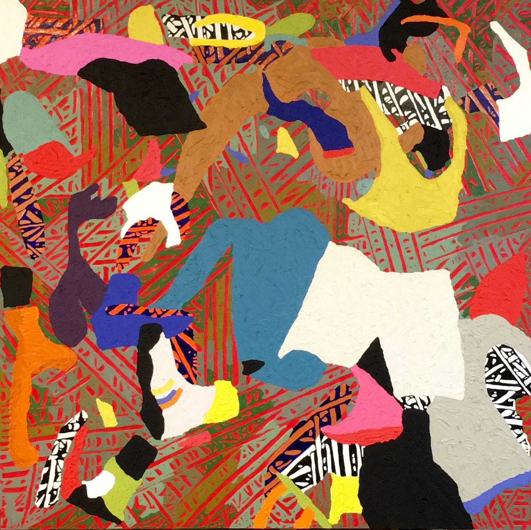 """Alex Herzog, Superflex, oil on LDF panel, 45"""" x 45"""", 2016"""