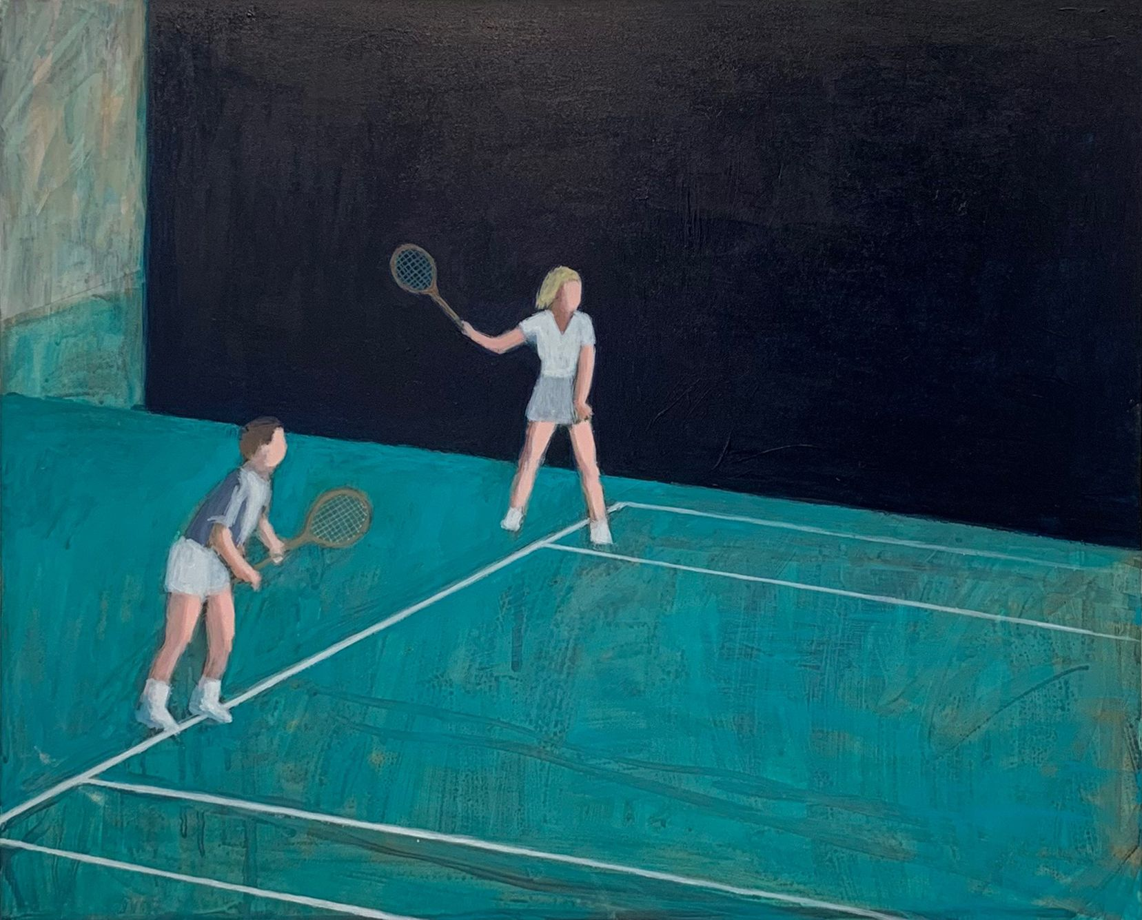 A painting by Ayse Wilson depicting a couple playing tennis
