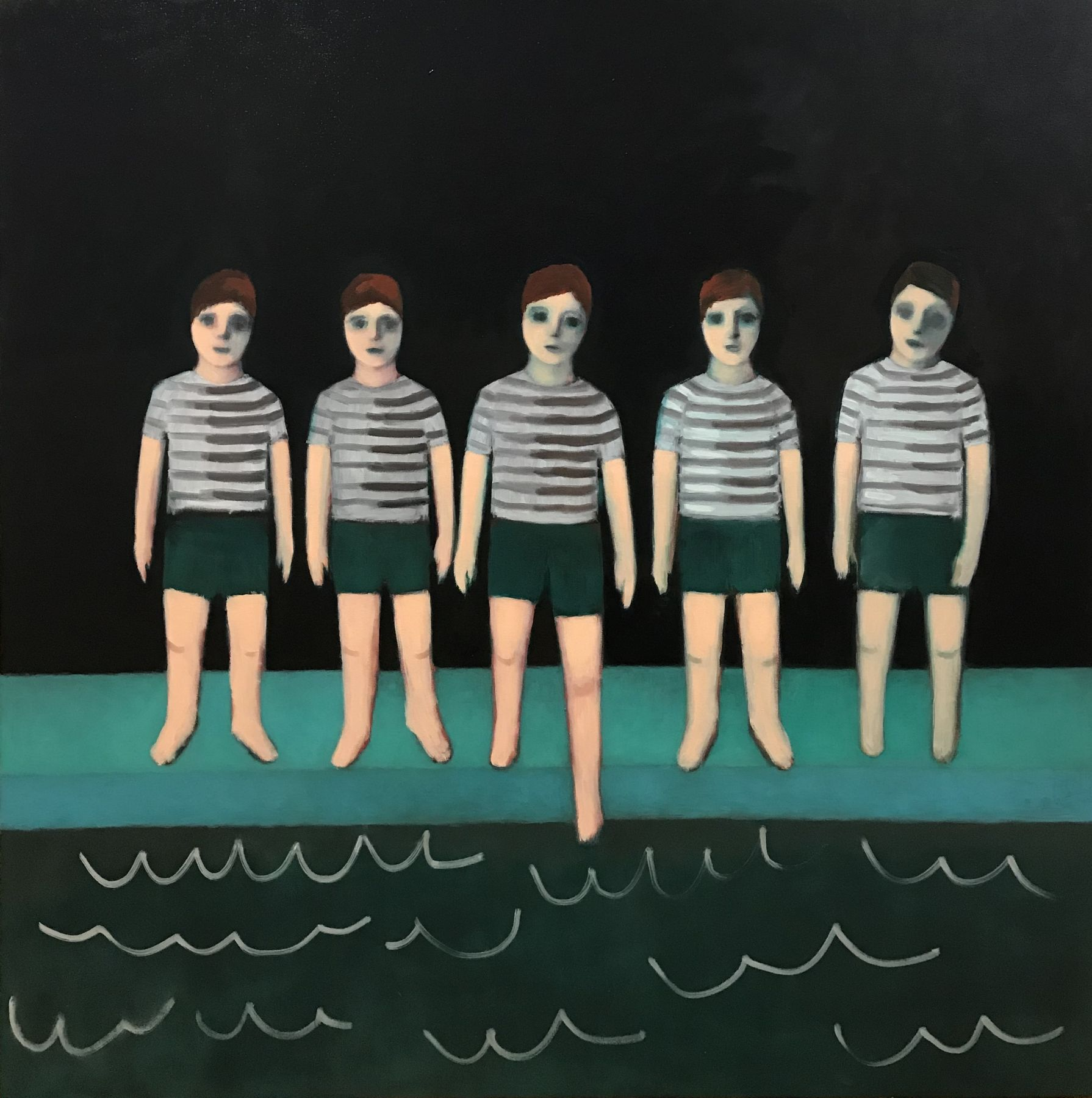 A painting by Ayse Wilson depicting a a group of five school aged boys in striped shirts in front of a swimming pool. The middle boy is dipping his toe in the water