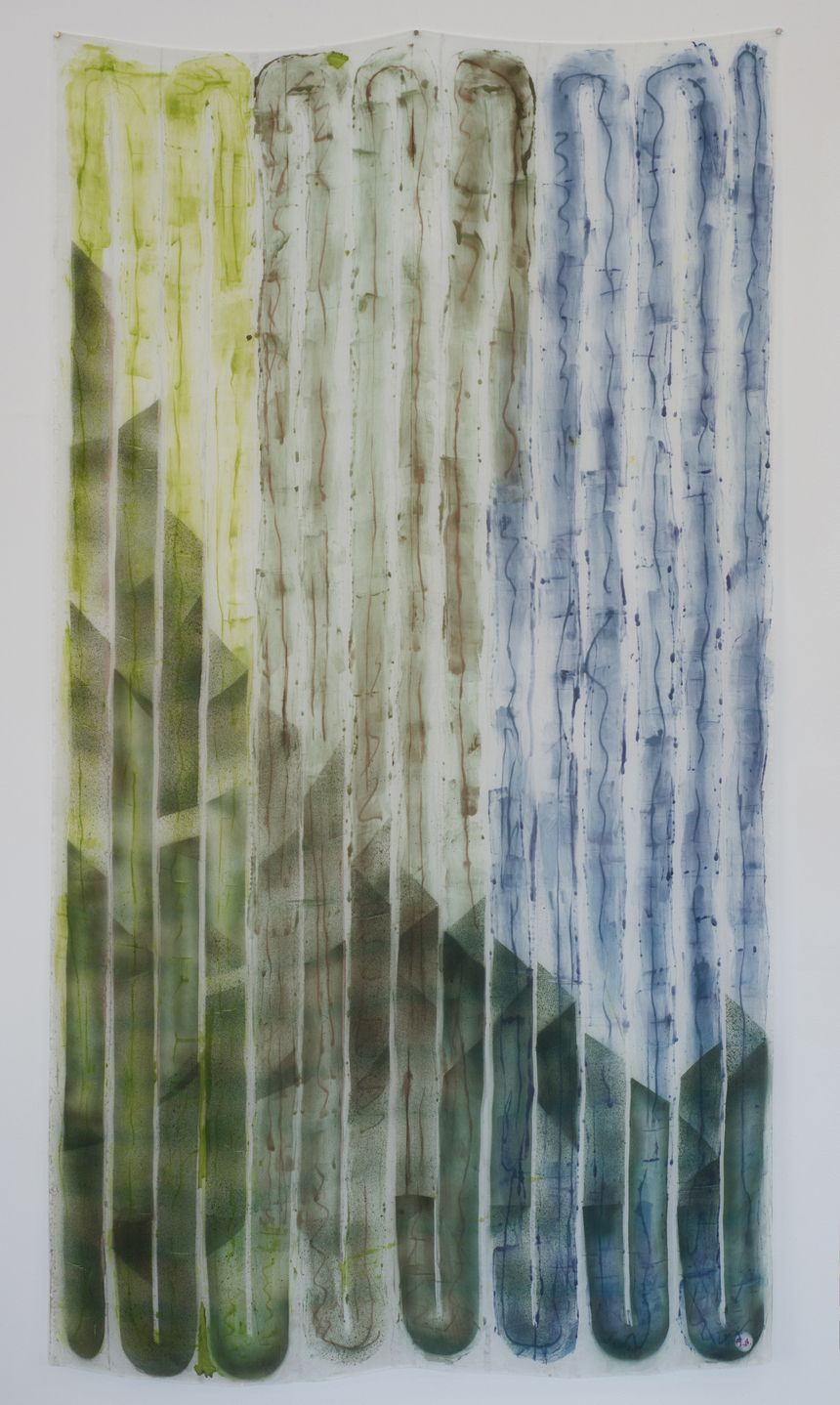 """Andy Hall,100 Footer Tall,dye and ink on silk, 80"""" x 45"""", 2016"""