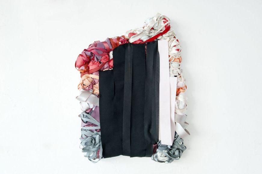 Air Sample (black), 2013, fabric, ribbon, mixed media